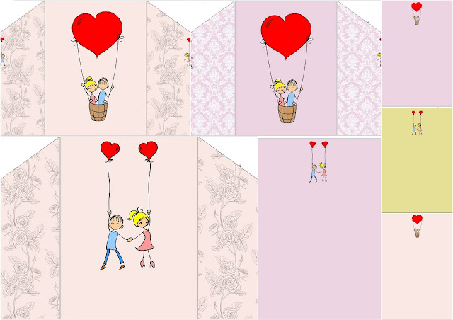 Free Printable Cards or Invitations with Envelopes with Couple with Balloons.