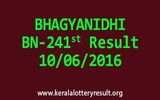 BHAGYANIDHI Lottery BN 241 Results 10-6-2016