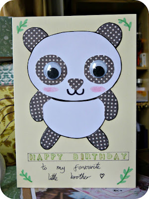 "Collaged panda birthday card that reads ""Happy Birthday to my favourite little brother."""