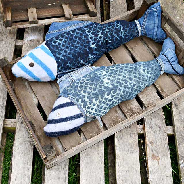 Learn how to make fish pillows from upcycled jeans. Tutorial by Pillar Box Blue.
