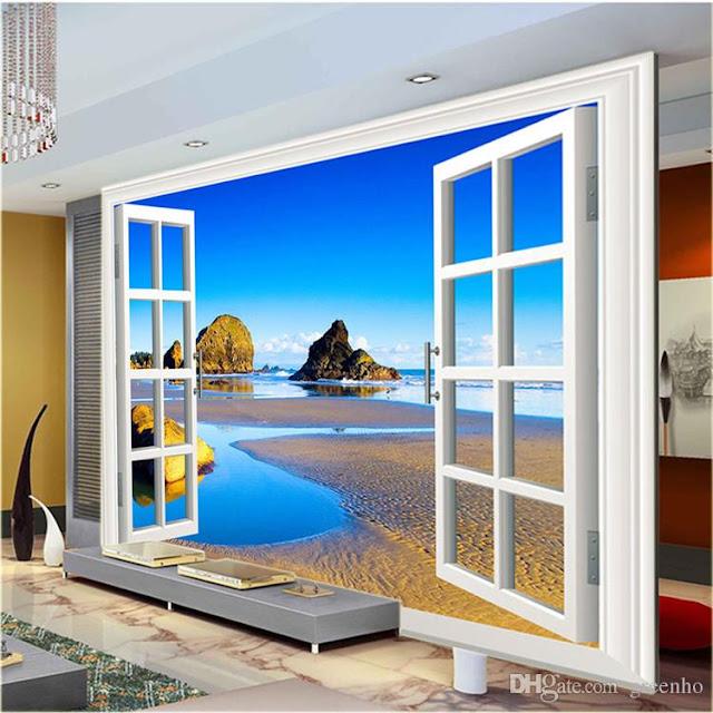 fönster tapet utsikt strand hav fototapet vardagsrum 3d