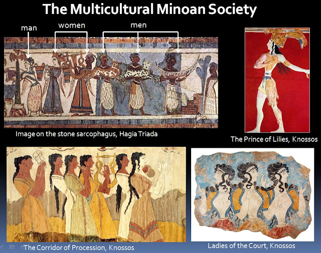 Minoan frescoes depict a multicultural society with men and women of different colours
