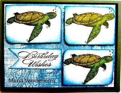 Crafty Marias Stamping World A Sea Turtle Happy Birthday Hand
