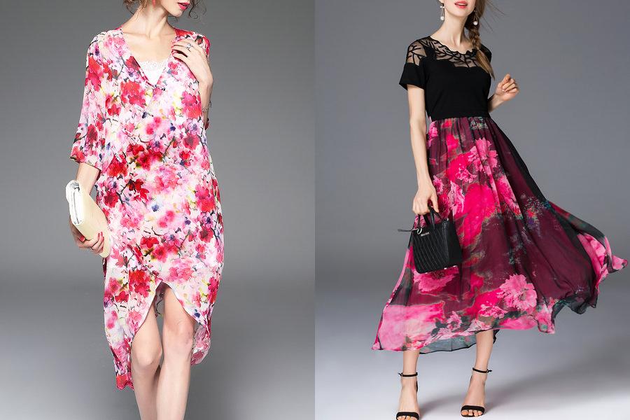 Vestidos florais cor de rosa