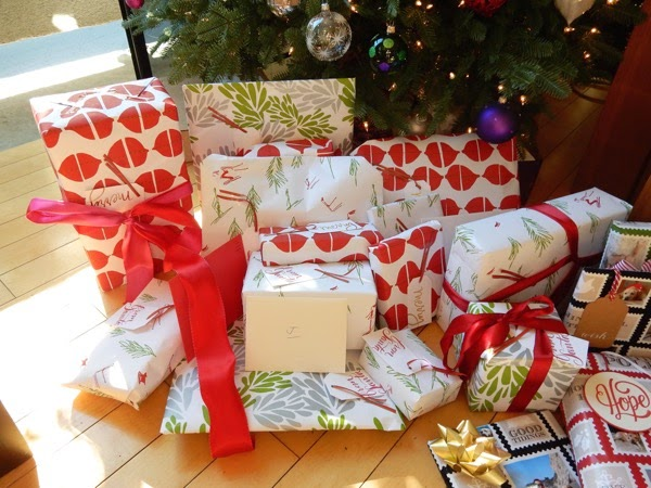 Gift-wrapped Christmas presents 2014