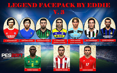 PES 2017 Legends Facepack v3 by Eddie Facemakers