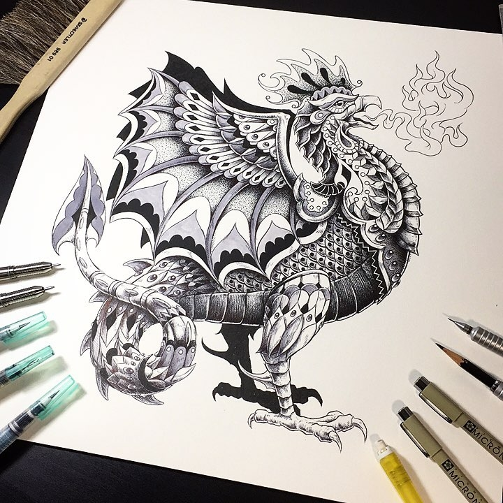 06-Mythical-Creature-Ben-Kwok-bioworkz-Animals-Drawings-Detailed-with-Elaborate-Geometric-Shapes-www-designstack-co