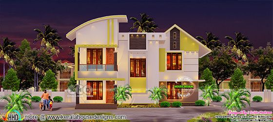 3 BHK mix roof contemporary home at Pathanamthitta
