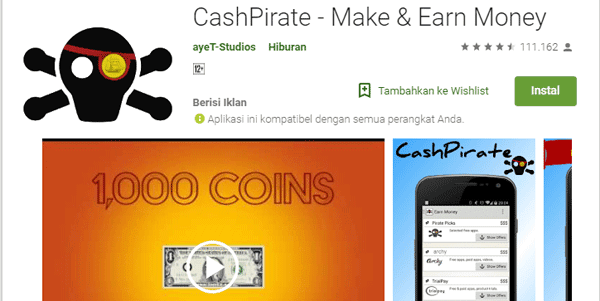 cash pirate aplikasi penghasil voucher google play store