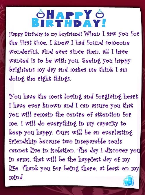 Romantic birthday letter for boyfriend