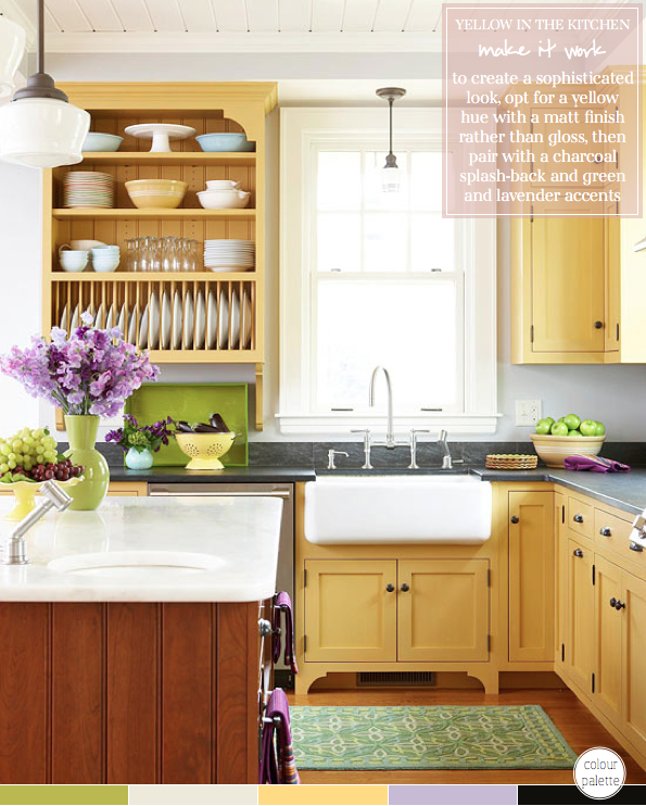 Yellow-Green Kitchen Cabinets