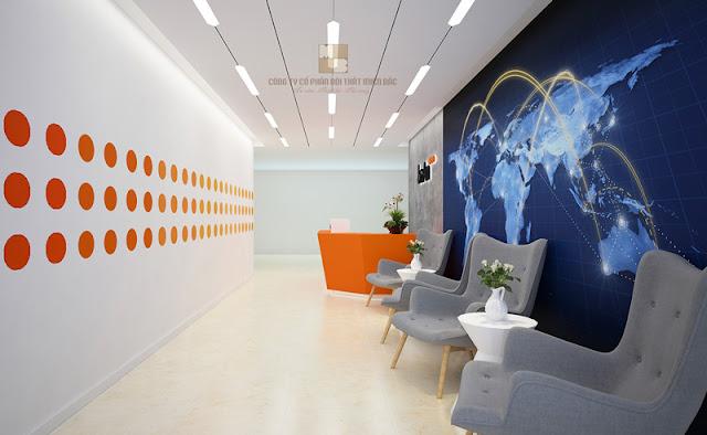 Khu vực lễ tân ấn tượng trong thiết kế văn phòng cao cấp công ty Ba An