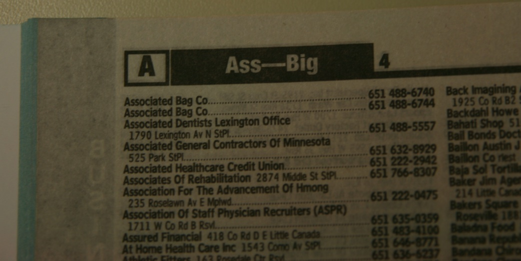 And Lastly Is This Page From A Telephone Directory