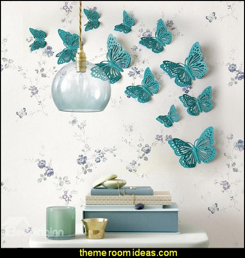 Butterflies 3D Wall Stickers  baby girl garden nursery theme decorating ideas - flower garden theme baby bedrooms - butterfly bedroom decor - butterfly bedroom theme - butterfly wall murals - tree wall murals - baby girl garden themed nursery