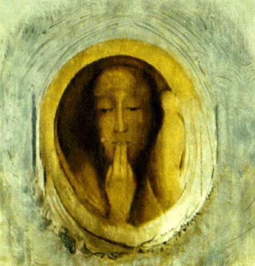 O Silêncio, pintura de Odilon Redon. #PraCegoVer