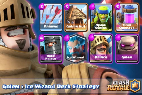 Strategi Deck Golem Ice Wizard Arena 8 Clash Royale