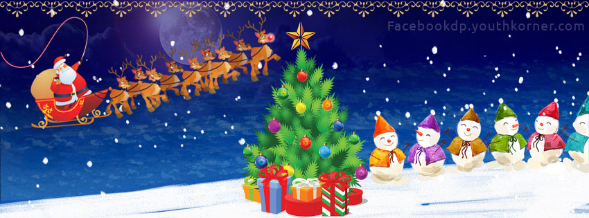 Merry Christmas fb cover with Santa