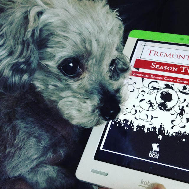 Murchie, ears perked, lies slightly in front of a white Kobo with Tremontaine's on its screen. The cover features the silhouette of a woman in profile, surrounded by vines with other tiny figures dangling off them. A red banner proclaims this to be an advanced reading copy with a non-final cover.