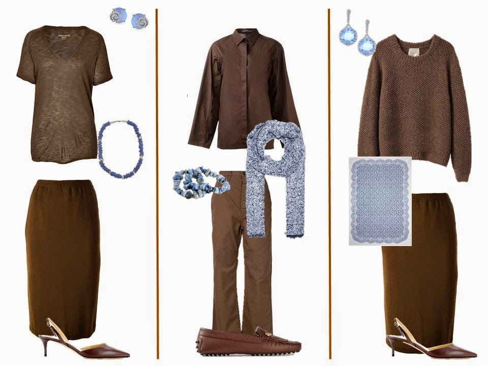 "Three brown ""Monday Morning Wardrobe"" outfits with light blue accessories"