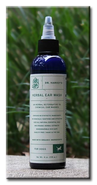 Blue bottle of Dr. Harvey's Herbal Ear Wash