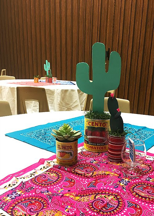 Taco Bar Relief Society Party Idea - Taco 'Bout Fun meet and greet party - table decor and conversation starters