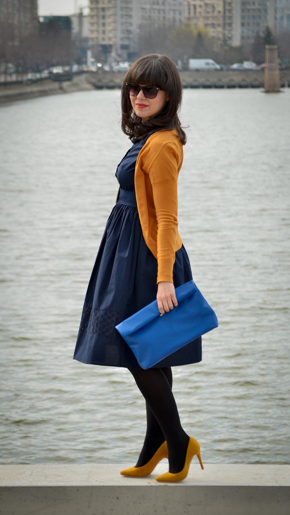 05e55d9c059 spring outfit navy dress 50s style mustard cardigan c a thrifted belt  cobalt blue clutch new yorker