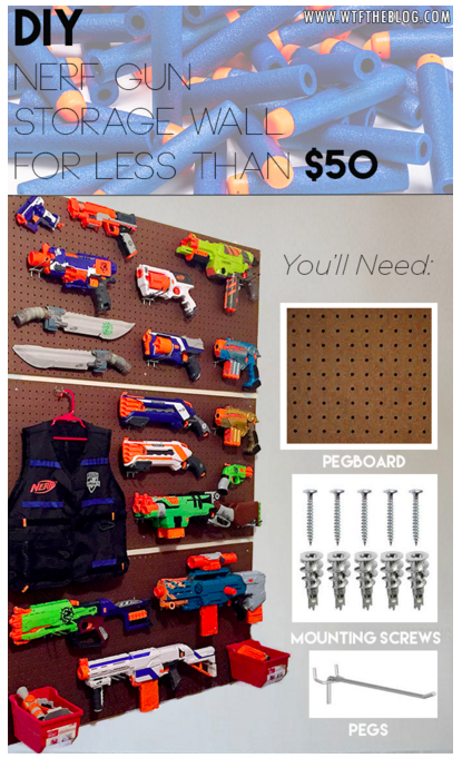 Recently When We Were Looking At Instagram Hagan And I Came Across A Picture Of Nerf Gun Storage Wall That Gave Us Lots Ideas Inspiration To