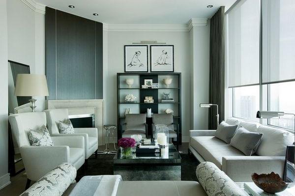 siyah beyaz küçük oturma odası dekorasyonu