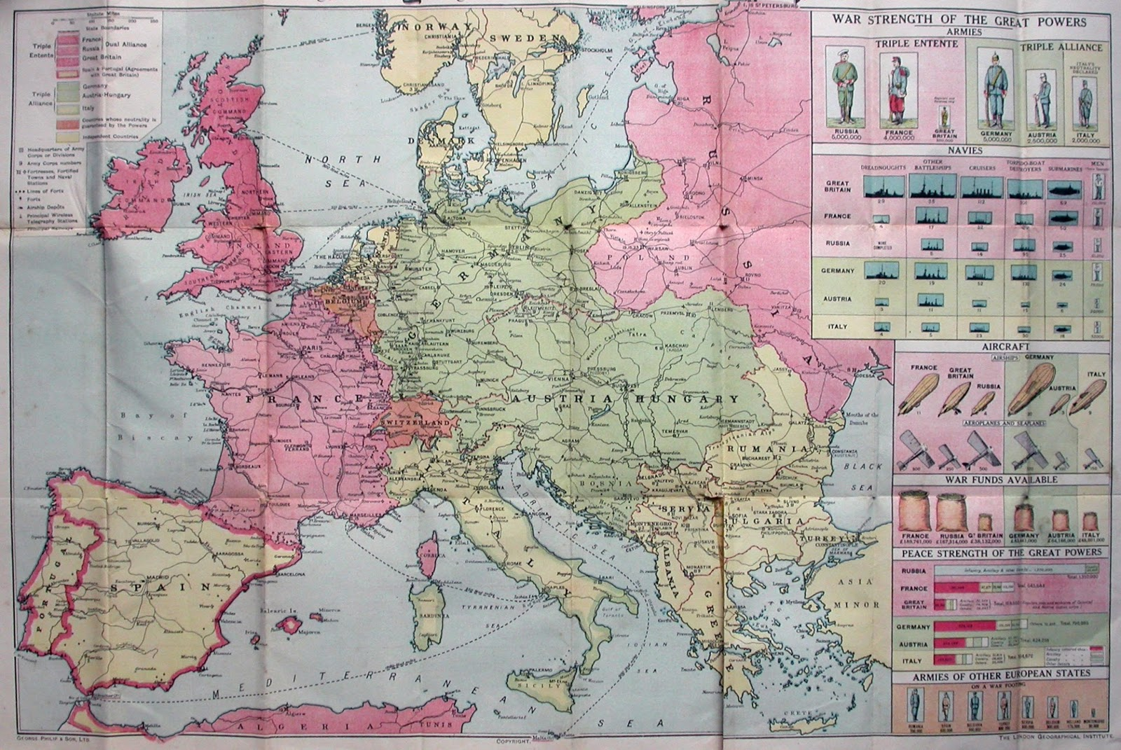 First World War Map from the Daily Mail (1914)