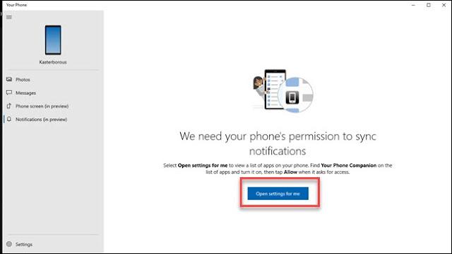 جزء إعلام تطبيق الهاتف الخاص بك مع مربع حول الإعدادات المفتوحة للزر لي.