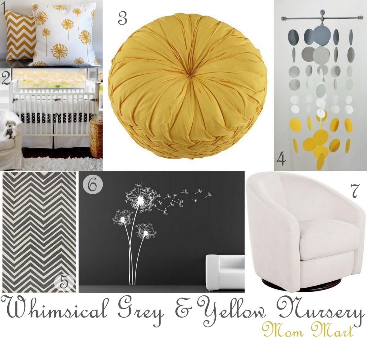Whimsical Grey And Yellow Dandelion Nursery