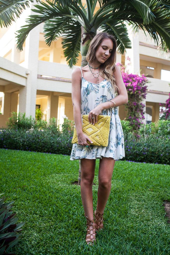 A palm print slip dress for summer