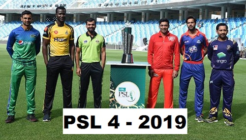 Pakistan Super League 2019 Teams Squad, Players List, PSL 4 T20, Points Table, Timetable Schedule, Fixtures, Scores, Results, Live TV Streaming & Channels, past winners.