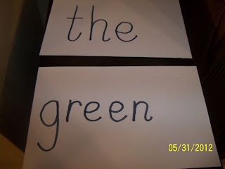 sight words, the, green, sand art, kindergarten, 1st grade, 2nd grade
