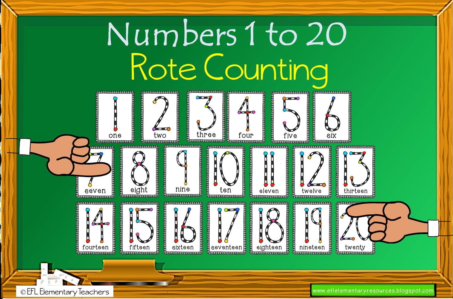 Efl Elementary Teachers Teaching Numbers 1 To 20 To Esl