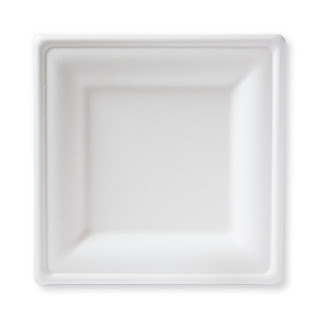 susty party square plates for a wedding reception