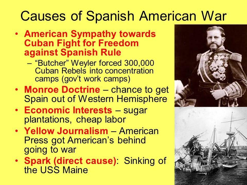 causes of spanish american war essay What were the causes of the spanish-american war in 1898 a war broke out between spain and america, it was a war that had far reaching consequences for both countries involved while this was a short lived war the fact that it had a huge impact on the countries involved means that you would think.