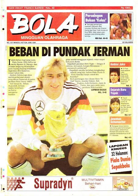 Tabloid BOLA EDISI 537 MINGGU KETIGA JUNI 1994: BEBAN DI PUNDAK JERMAN