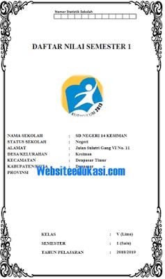 Format Daftar Nilai Kelas 5 SD/MI Kurikulum 2013 Revisi 2017