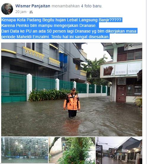 Kota Padang Banjir, Anggota Dewan Lontarkan Kritik kepada Pemko di Media Sosial