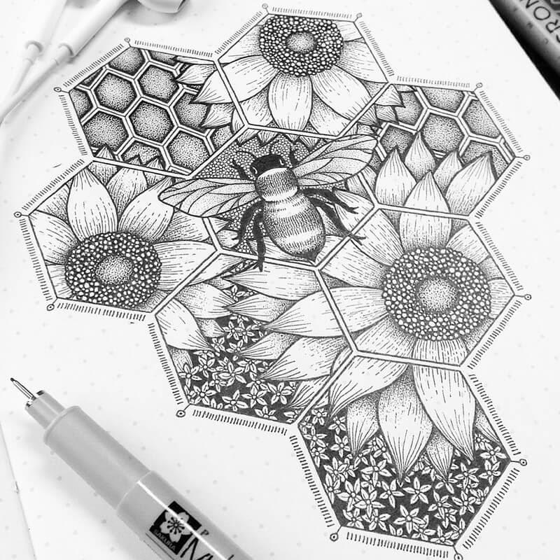 05-Sweeter-Than-Honey-Dylan-Brady-Stippling-Drawings-in-Ink-www-designstack-co