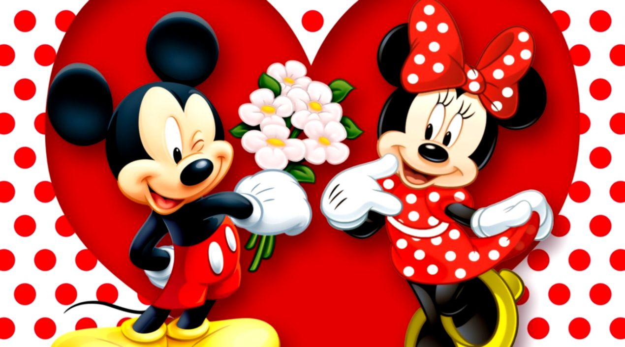 HD Background Mickey Mouse And Minnie Mouse Love Couple Heart