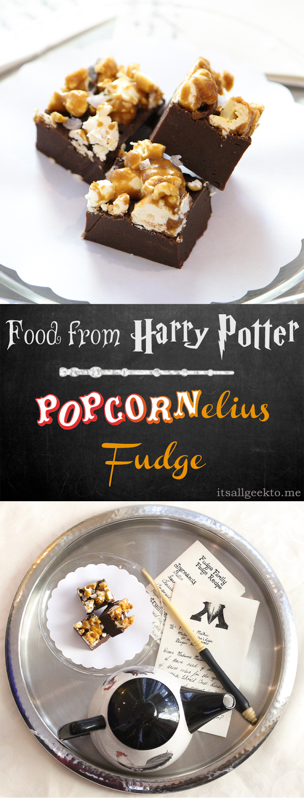 This sweet and salty Harry Potter fudge comes together quickly - perfect for a Hogwarts party. Dark chocolate, caramel, sea salt and popcorn combine into a delectable treat.