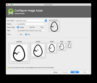Configuración de icono. Nombre y ubicación de imagen a cargar