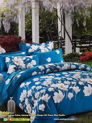 Sprei Custom Katun Jepang Dewasa Bunga Lili Tosca Biru Turkis