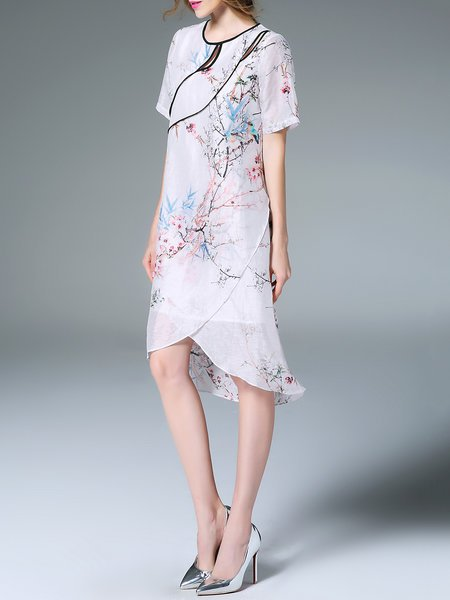 White Asymmetrical cutout vintage style floral midi dress from fantiow