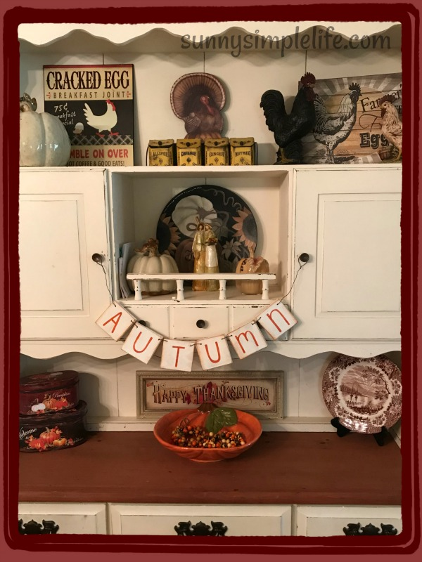 country kitchen, white hutch, fall decor
