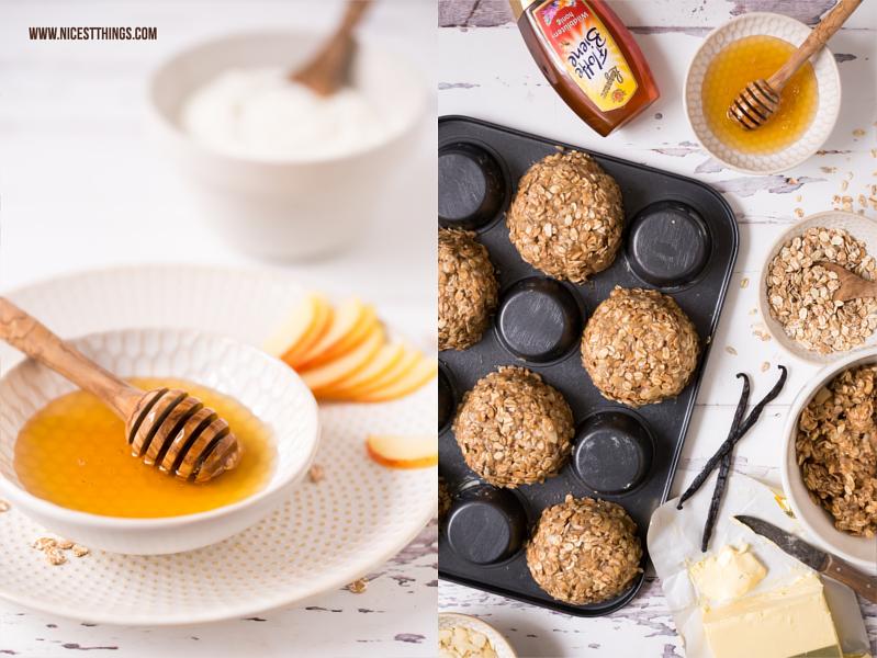Granola Cups mit Joghurt, Apfel, Honig und Zimt