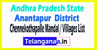 Chennekothapalle Mandal Villages Codes Anantapur District Andhra Pradesh State India