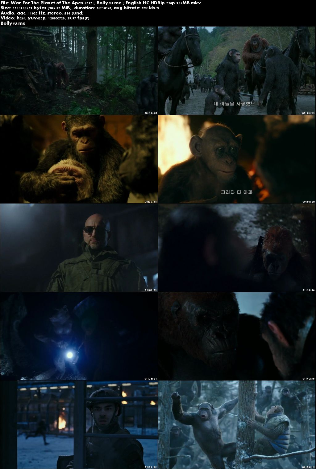 War For The Planet of The Apes 2017 HC HDRip 950MB English 720p Download